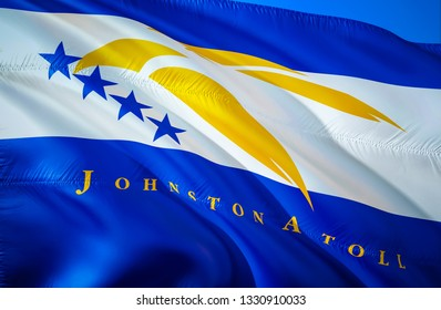 Johnston Atoll state flag. 3D Waving American United States flag design. Symbol of Johnston Atoll and Oceania, 3D rendering. Johnston Atoll Waving state flag concept.Waving US American state flags