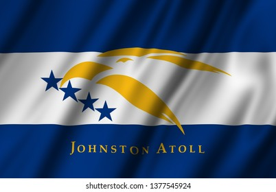 Johnston Atoll waving flag illustration. Regions and Cities of the United States. Perfect for background and texture usage.