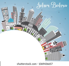 Johor Bahru Malaysia Skyline with Gray Buildings, Blue Sky and Copy Space. Business Travel and Tourism Illustration with Modern Architecture. Johor Bahru Cityscape with Landmarks.
