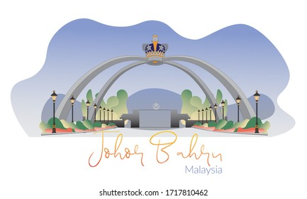 Johor, Malaysia - April 26,2020 : Beautiful illustration of  an iconic johor landmark and new tourist attraction, Sultan of Johor, Sultan Ibrahim ,  Palace entrance.