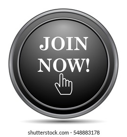 Join now icon, black website button on white background.