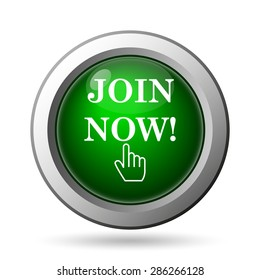 Join now icon. Internet button on white background