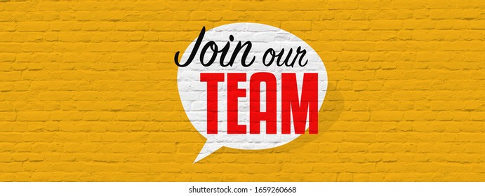 Join our team on brick wall background