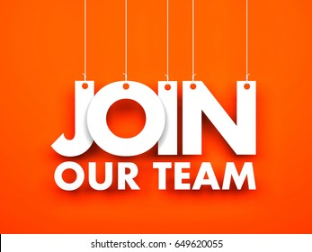 Join our team - text hanging on the ropes