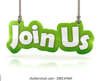 join us text hanging on white background with clipping path
