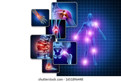 Joint body pain concept as skeleton and muscle anatomy of the body with a group of sore joints as a painful injury or arthritis illness symbol for medical symptoms with 3D illustration elements.