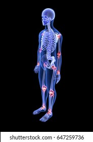 Joint pain. Blue Human Anatomy Body and Skeleton 3D Scan render on black background