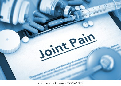 Joint Pain - Printed Diagnosis with Blurred Text. Joint Pain Diagnosis, Medical Concept. Composition of Medicaments. 3D.