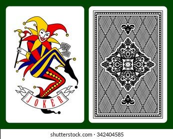 Joker playing card and black backside background. Original design