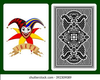 Joker playing card on green and backside background. Original design
