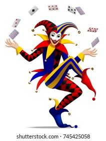Joker with playing cards. Three dimensional stylized drawing