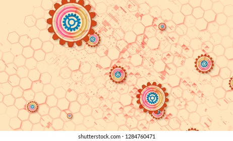 Jolly 3d illustration of cyber security cogwheels of light brown, blue and rosy colors in the light pink background. They move diagonally and create the mood of dynamism.