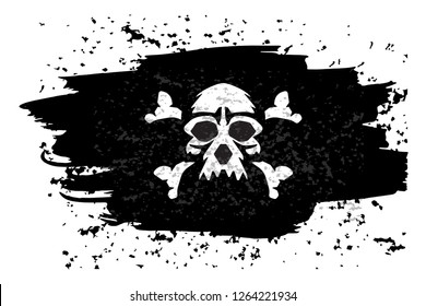 Jolly roger Pirate flag with a skull.  illustration.