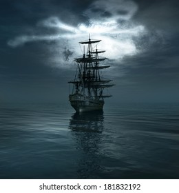Jolly Roger in the sky over the sailing ship