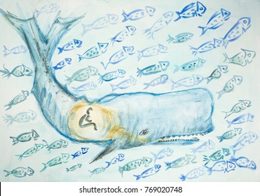 Jonah and the whale surrounded by many fishes. The dabbing technique gives a soft focus effect due to the altered surface roughness of the paper.