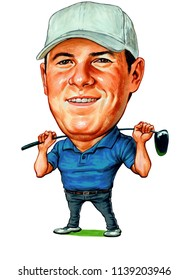Jordan Alexander Spieth is an American professional golfer on the PGA Tour and former world number one in the Official World Golf Ranking. Illustration,Caricature,Design,July,21,2018