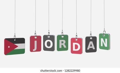 JORDAN caption and Jordanian flag on swinging plates, 3D rendering