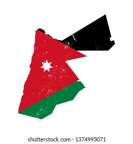 Jordan country silhouette with flag on background on white