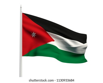 Jordan flag floating in the wind with a White sky background. 3D illustration.