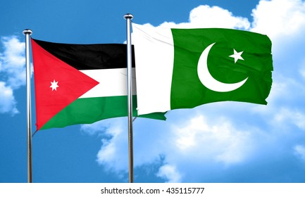 Jordan flag with Pakistan flag, 3D rendering