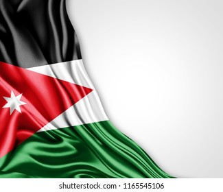 Jordan flag of silk with copyspace for your text or images and white background-3D illustration