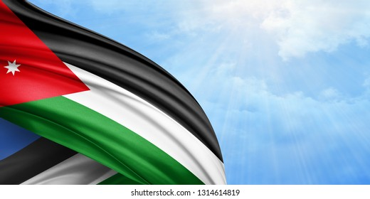 Jordan  flag of silk with copyspace for your text or images and sky background-3D illustration
