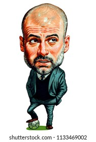 Josep Pep Guardiola Sala is a Spanish professional football coach and former player who is the current manager of Manchester City. Illustration,Caricature,Design,July,13,2018