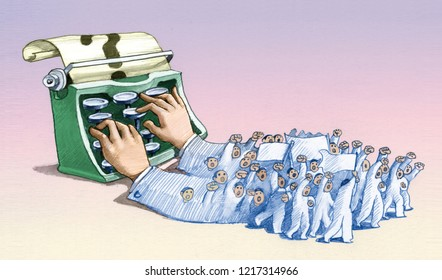 journalist hands that types hands give procession of protest political cartoon conceptual illustration
