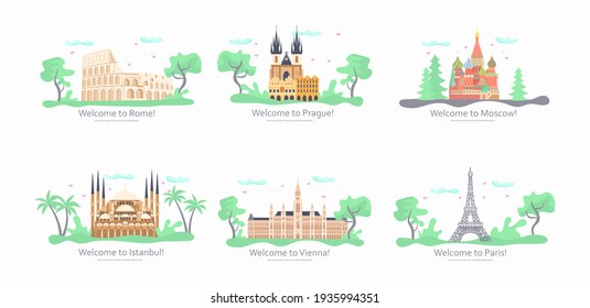 Journey European to the most renowned sights. Architectural outside buildings of the famous european cities. Horizontal travet banner. Flat Art Rastered Copy