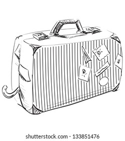 Journey suitcase. Hand drawing sketch  illustration