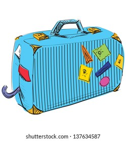 Journey suitcase. Travel vacation symbol. Hand drawing sketch illustration