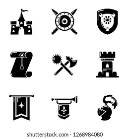Joust icons set. Simple set of 9 joust icons for web isolated on white background