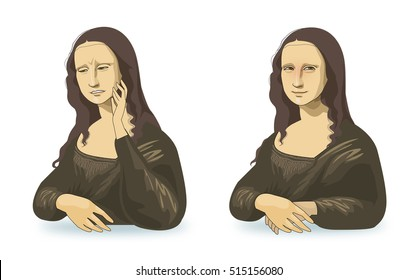 Joy and sadness of Mona Lisa