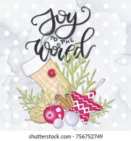 Joy To The World Christmas Lettering Isolated on a White Background Xmas Hand Drawn Illustration
