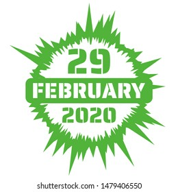 Joyful burst of the date 29 February 2020 - leap day in the next leap year. Burst and date are an illustration, in green.