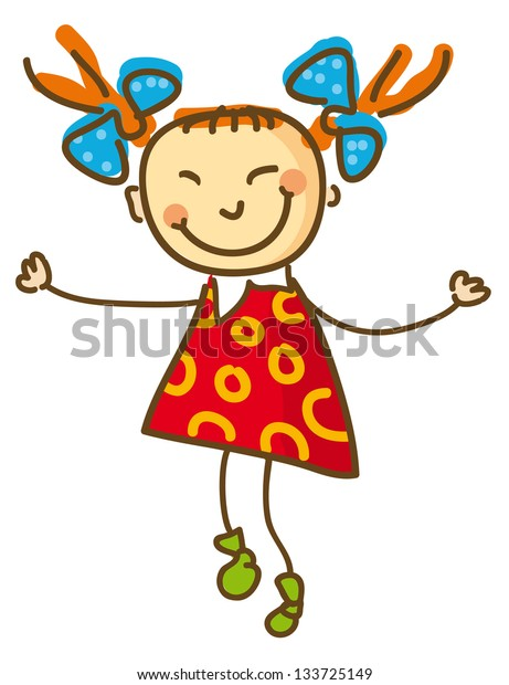 Joyful Girl in red blouse and blue bows.