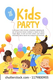 Joyous African-American kids in birthday hats and balloons happily jump. Cute rabbits, a bunch of presents on the background.  Illustration of a Happy Birthday Greeting Card or invitation flyer.