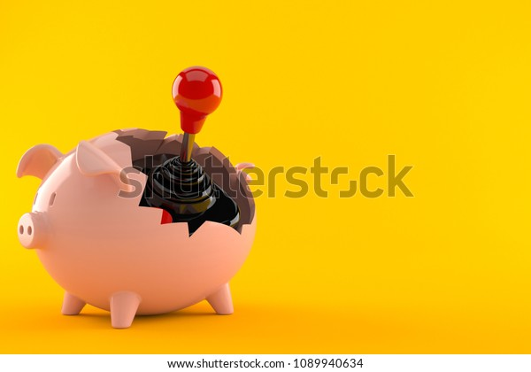 Joystick inside piggy bank isolated on orange background. 3d illustration