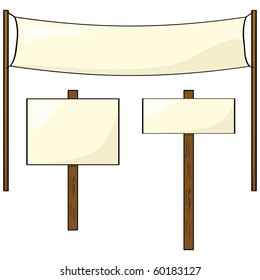 Jpeg collection of three different shaped blank signs and posts