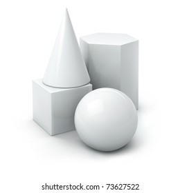 jpeg composition of white basic geometric shapes: cube, cone, prism, ball. jpg