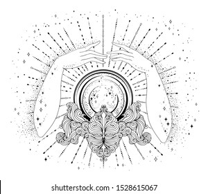 JPEG hand drawn fortuneteller female hands conjure above a magic crystal ball on a patterned stand. The magic rays of the cosmic universe Halloween concept Mage Attributes Design card, print t-shirt