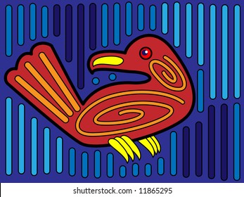 Jpeg illustration of mola bird design in native Kuna style.