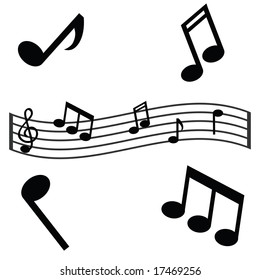 Jpeg illustration of musical notes and a waving scale. For vector version, please see my portfolio.