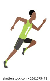 Jpeg illustration of running man in flat design style. Sport. Run. Active fitness. Exercise and athlete. Variety of sport movements. Flat cartoon style. Side view. Simple design.