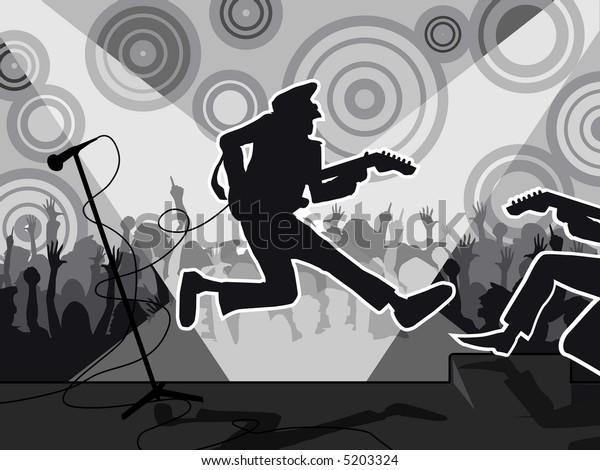 JPEG version - Rock concert, black and white.