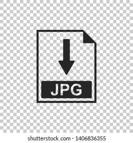JPG file document icon. Download JPG button icon isolated on transparent background. Flat design