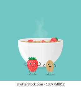 JPG illustration with bowl of oatmeal and smiling cartoon characters of oat cereal and strawberry. Template for banner, article about health, card or flyer, promotion or for design packaging.