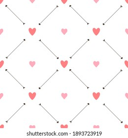 JPG Valentine seamless pattern with hearts and arrows on white background. For wallpaper, gift and wrapping paper, greeting card and wedding invitations, textile, fabric, linen, pajamas, web page.