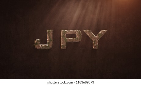 JPY Letter Deformed Old Stones And Growing Leaves On The Old Wall Background. Stone JPY Letter. 3D İllustration.
