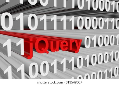 jQuery is presented in the form of binary code 3d illustration